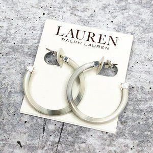 Ralph Lauren 32mm Silver Tone Horn Earrings
